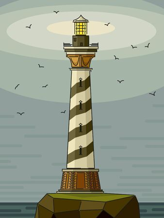 Cartoon stylized illustrations of misty lighthouse on rock island with seagulls.