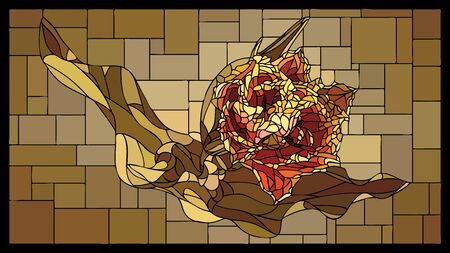 angular mosaic with blooming orange tulip stained-glass window frame.