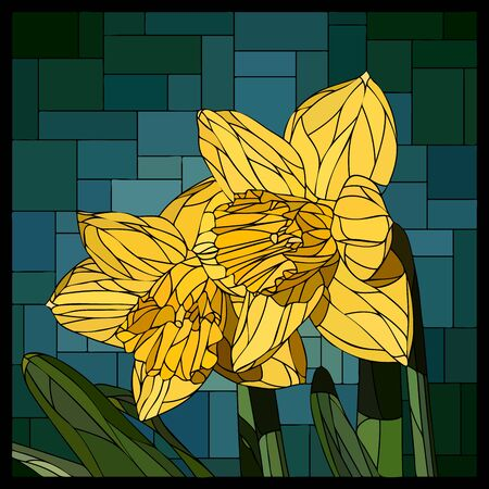 angular mosaic with blooming two yellow narcissus flowers stained-glass window frame.