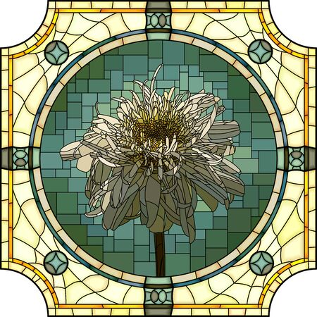 mosaic with large cells of blooming terry camomile in round stained-glass window frame. Ilustração