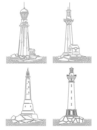 Set of simple black and white linear drawing images of lighthouse on island. Ilustração