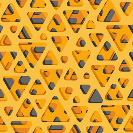 Abstract seamless background of sheet perforating layers and many triangular holes with shadows on it (in orange tone).