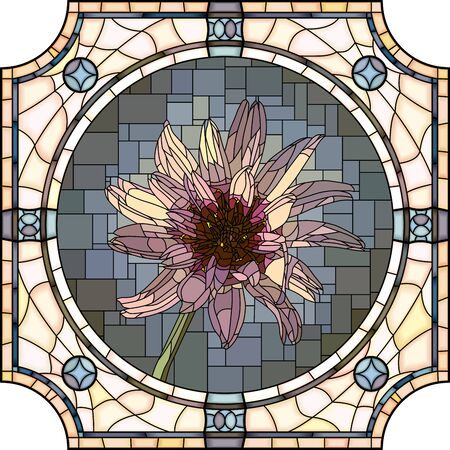 mosaic with large cells of blooming Catananche in round stained-glass window frame.