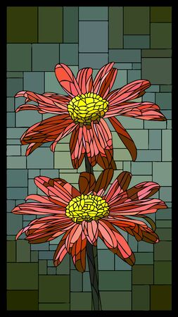 Vector angular mosaic with blooming pyrethrum stained-glass window frame.