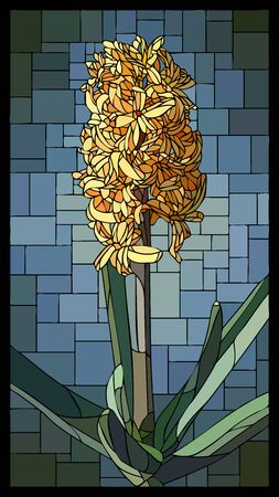 Vector angular mosaic with blooming yellow hyacinth stained-glass window frame.