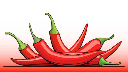 Vector simple illustration group of red pepper (paprika) with half on line (side view). Ilustração