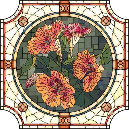 Vector mosaic with of blooming orange nasturtium in round stained-glass window frame.