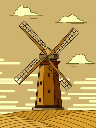Simple cartoon stylized illustrations of wood windmill at sunset.