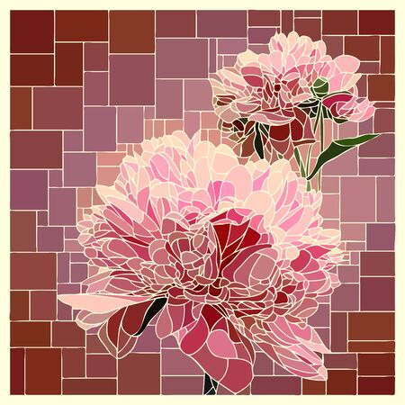 Vector angular mosaic with blooming pink peony stained-glass window.