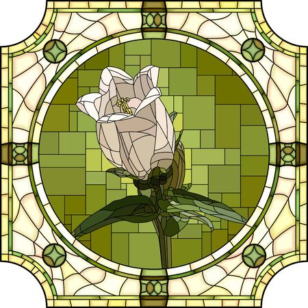 Vector mosaic with large cells of blooming white bellflower in round stained-glass window frame. Ilustração