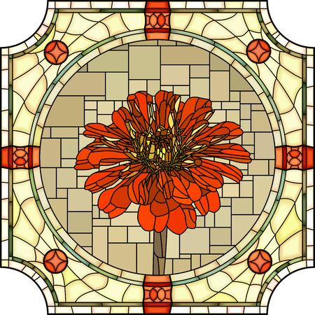 Vector mosaic with large cells of blooming red pyrethrum in round stained-glass window frame. Ilustração