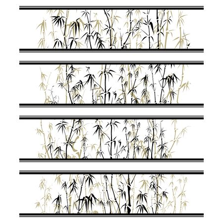 Set of horizontal label with image between lines of bamboo trees. Ilustração