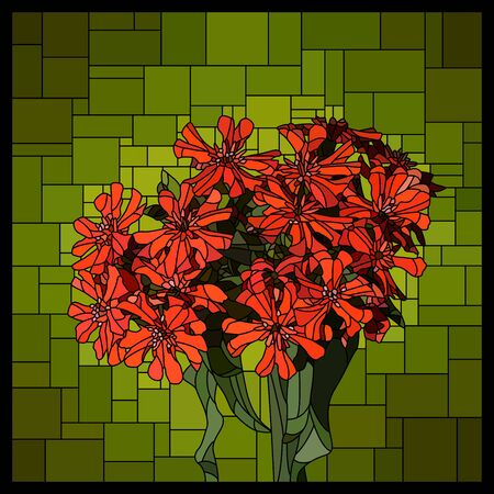 Vector angular mosaic with blooming red lychnis in stained-glass window.