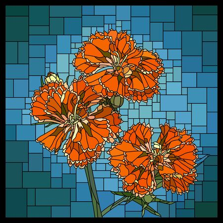 Vector angular mosaic with blooming red carnation in stained-glass window.