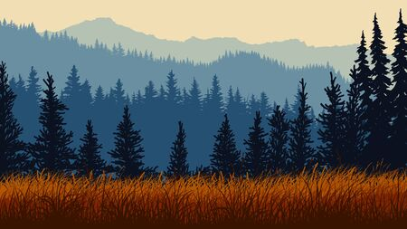 Horizontal illustration of red grassy meadow and blue coniferous forest hills. Illustration