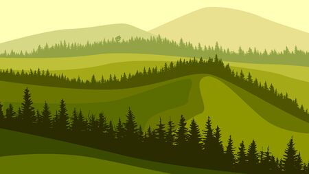 Horizontal illustration of green grassy meadow hills with wavy coniferous forest tops. Ilustração