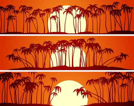 Set of horizontal banners of palm trees on beach at sunset.