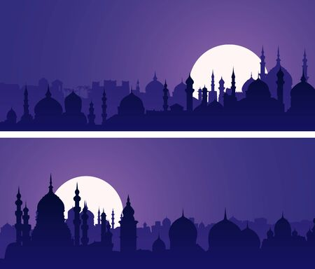 Set of horizontal banners of eastern city with minarets and domes at night.