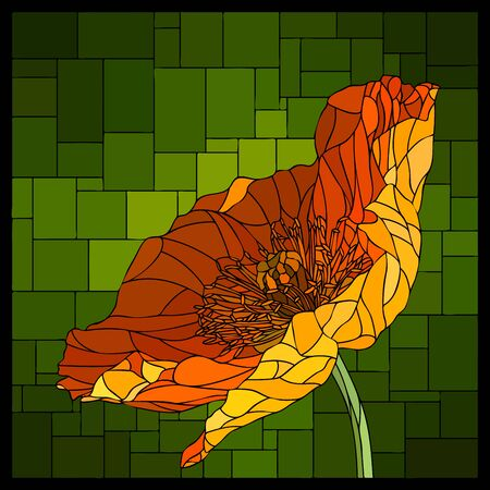 Vector angular mosaic with blooming poppy in stained-glass window. Ilustração