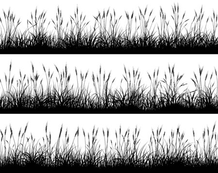 Set of horizontal banners with wheat field silhouettes.