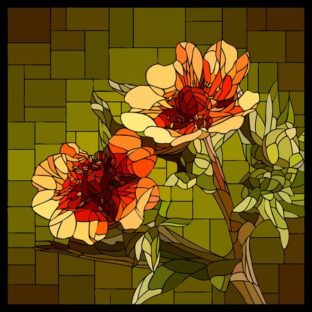 Vector angular mosaic with blooming red Cinquefoil in stained-glass window. Ilustração