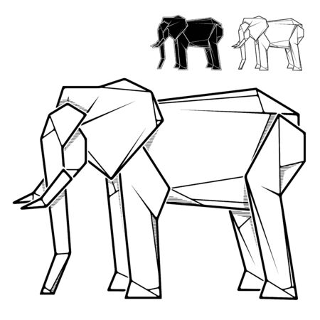 Vector monochrome image of paper elephant origami (contour drawing by line).