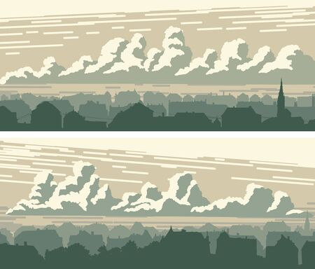 Set of horizontal banners of old historic downtown and sky with clouds.