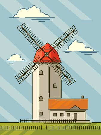 Simple cartoon stylized illustrations of windmill with blue sky and green fields. Ilustração