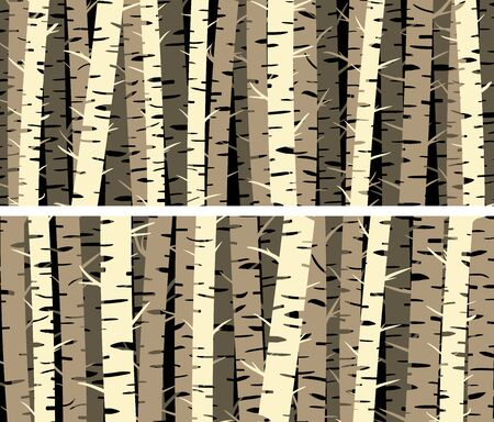 Set of horizontal banners with stylized birch trunks forest.