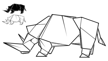 Vector monochrome image of paper rhinoceros origami (contour drawing by line).