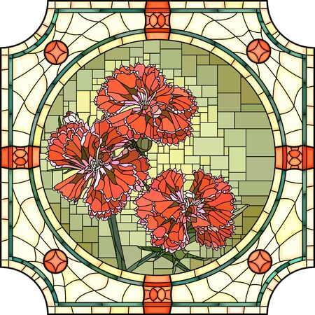 Vector mosaic with of blooming red carnation in round stained-glass window frame. Ilustração