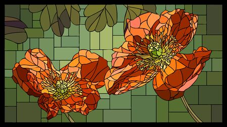 Vector angular mosaic with blooming orange poppies in stained-glass window. Ilustração