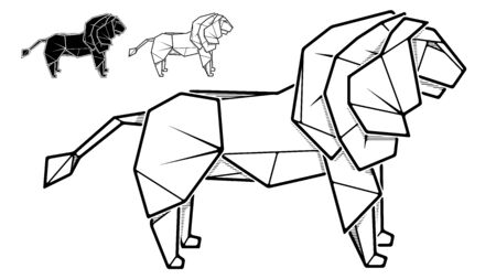 Vector monochrome image of paper lion origami (contour drawing by line).