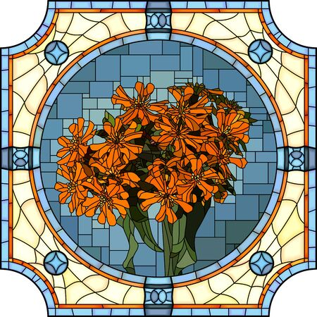Vector mosaic with of blooming orange lychnis in round stained-glass window frame.