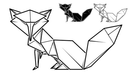 Vector monochrome image of paper fox origami (contour drawing by line).