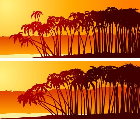 Set of simple horizontal banners of palm trees on beach at sunset. Ilustração