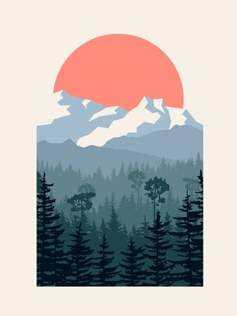 Vertical vector illustration of coniferous forest with mountains and sun in passepartout. Ilustração