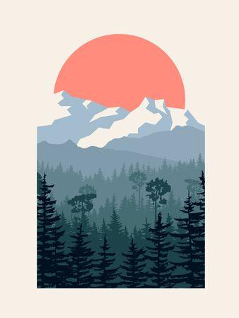 Vertikale Vektorillustration des Nadelwaldes mit Bergen und Sonne im Passepartout. Vektorgrafik