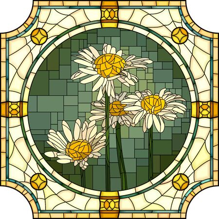 Vector mosaic with of blooming chamomile in round stained-glass window frame. Ilustração