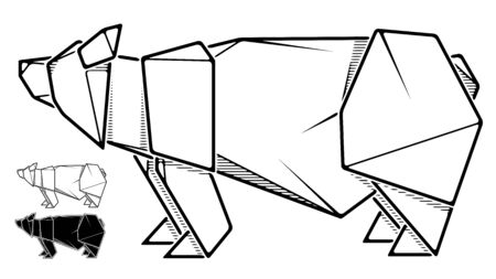 Vector monochrome image of paper bear origami (contour drawing by line).