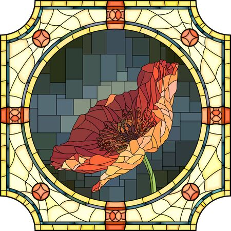 Vector mosaic with of blooming orange poppy in round stained-glass window frame. Ilustração