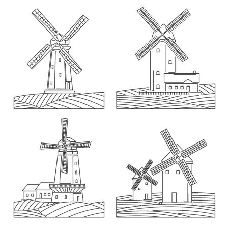 Set of simple black and white linear drawing images of stylized windmills with fields. Ilustração