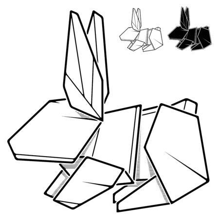 Vector monochrome image of rabbit origami from paper (contour drawing by line).