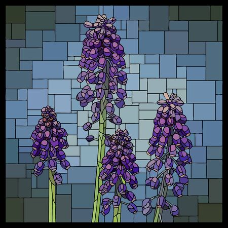 Vector angular mosaic with blooming purple muscari in stained-glass window.
