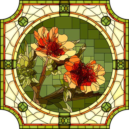 Vector mosaic with blooming orange cinquefoil in round stained-glass window frame.