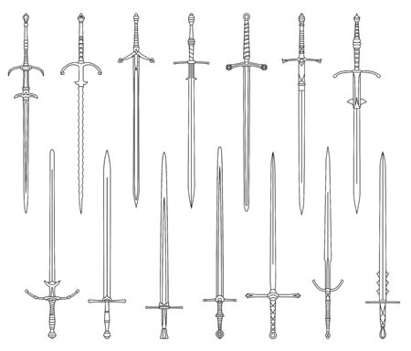 Set of simple monochrome vector images of medieval two-handed swords drawn by lines.