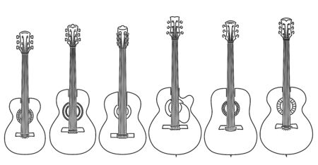 Set of simple stringed musical instruments classical guitar, acoustic guitar, parlor, jumbo, dreadnought drawn by lines.