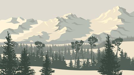 Horizontal vector illustration of landscape with snowy coniferous forest valley and rocky mountains (in pale grey blue tone). 일러스트