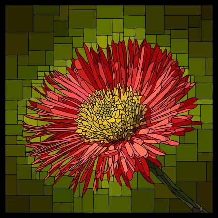 Vector square mosaic with blooming red erigeron in stained-glass window. Ilustração
