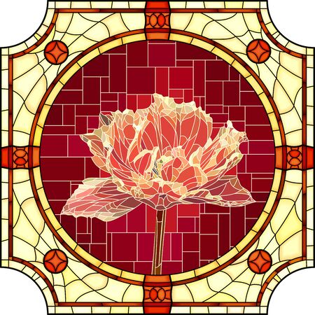 Vector mosaic with blooming red velvet tulip in round stained-glass window frame.